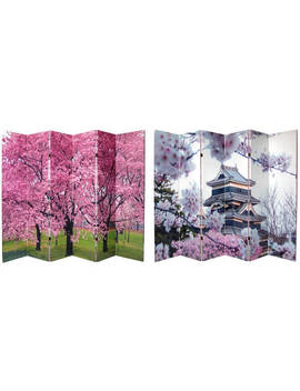 Handmade 6' Canvas Cherry Blossoms Room Divider by Oriental Furniture