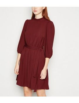 Burgundy Frill Neck Belted Mini Dress by New Look