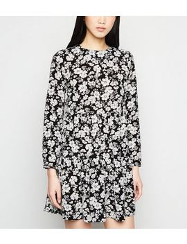 Black Floral Tiered Smock Dress by New Look