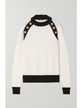 Button Embellished Two Tone Wool And Cashmere Blend Sweater by Balmain