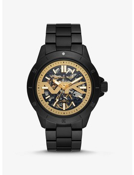 Bayville Black Tone And Silicone Skeleton Watch by Michael Kors