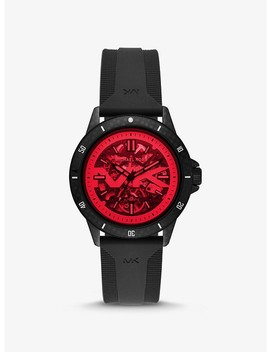 Bayville Silicone And Red Crystal Skeleton Watch by Michael Kors