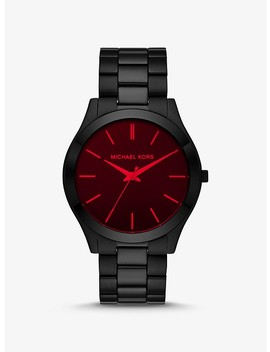 Slim Runway Black Tone And Red Crystal Watch by Michael Kors