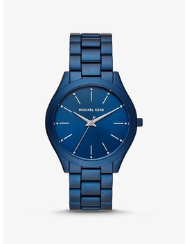 Slim Runway Blue Tone Aluminum Watch by Michael Kors