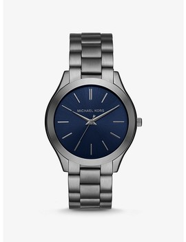 Oversized Slim Runway Gunmetal Tone Watch by Michael Kors