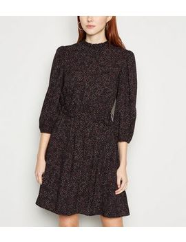 Black Spot Puff Sleeve Frill Neck Dress by New Look