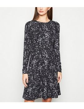 Tall Black Leopard Print Soft Touch Skater Dress by New Look
