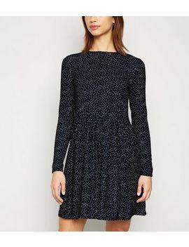 Black Spot Jersey Mini Smock Dress by New Look