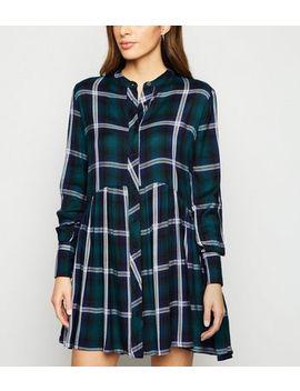 Innocence Dark Green Check Collarless Shirt Dress by New Look