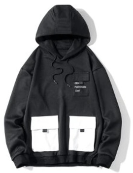 Popular Sale Letter Print Flap Pocket Spliced Pullover Hoodie   Black M by Zaful