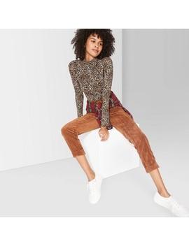 Women's Leopard Print Long Sleeve Mock Turtleneck Bodysuit   Wild Fable™ Brown by Wild Fable
