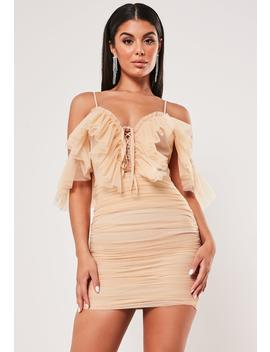 Nude Frill Mesh Ruched Strappy Mini Dress by Missguided