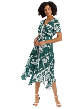Belted Asym Printed Dress by Basque Petites