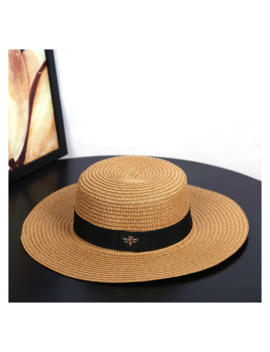 Sun Hats Small Bee Straw Hat European And American Retro Gold Braided Hat Female Loose Sunscreen Sunshade Flat Cap Visors Hats by Ali Express.Com