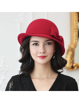 Beckyruiwu Women Winter 100% Wool Felt Hats Lady Party Formal Up Turn Brim Bowknot Woolen Fedora Hat by Ali Express.Com