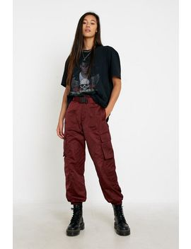 Uo Jodie Maroon Seatbelt Pant by Urban Outfitters
