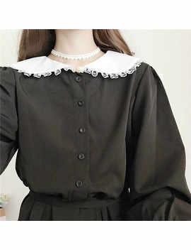 Japanese Harajuku Women Black Maxi Long Dress Peter Pan Collar Vintage Lolita Style Vestidos Longo Full Sleeve Cute Kawaii Dress   by Alyaboomty