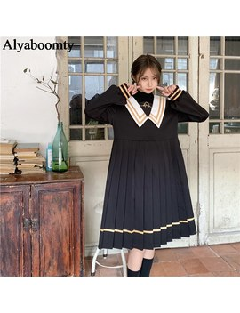 Japanese Harajuku Spring Autumn Women Cute Dress Gothic Sailor Collar Black Embroidery Dress Preppy Style Elegant Pleated Dress by Ali Express.Com