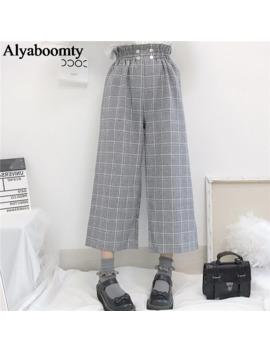 Japanese Lolita Style Autumn Women Wide Leg Pants Elastic Waist Apricot Gray Plaid Loose Trousers Cute Kawaii Student's Capris by Ali Express.Com