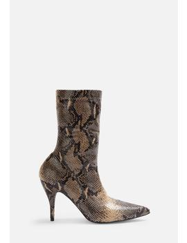 Nude Faux Leather Snake Print Mid Heel Boots by Missguided
