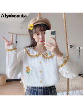 Japanese Preppy Style Women Spring Autumn White Blouse Peter Pan Collar Sunflower Embroidery Blusas Cute Kawaii Lolita Girl Top by Ali Express.Com