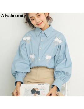 Korean Style Autumn Spring Women Cotton Denim Blouse Turn Down Collar Light Blue Floral Embroidery Blusas Lantern Sleeve Shirts by Ali Express.Com