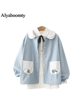 Japanese Mori Girl Spring Autumn Women Denim Coat Peter Pan Collar Blue Washed Cotton Jacket Floral Embroidery Kawaii Outerwear by Ali Express.Com