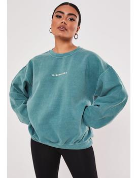 Green Missguided Slogan Washed Sweatshirt by Missguided
