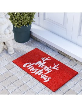 Christmas Antlers 29 In. X 17 In. Non Slip Outdoor Door Mat by The Holiday Aisle