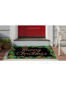 """Huitt Merry Christmas Holly 30"""" X 18"""" Non Slip Outdoor Door Mat by The Holiday Aisle"""