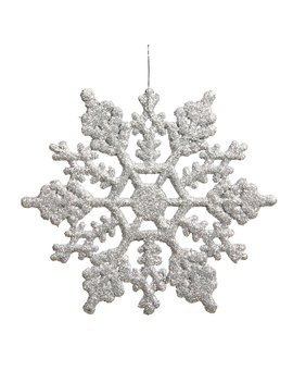 Silver Glitter Snowflake Christmas Shaped Ornament by Lark Manor