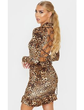 Brown Leopard Print Velvet Long Sleeve Lace Up Back Bodycon Dress by Prettylittlething