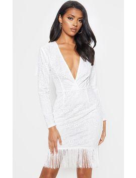 White Lace Tassel Hem Bodycon Dress by Prettylittlething