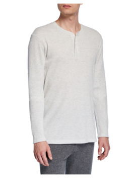 Men's Waffle Knit Henley Shirt by Vince