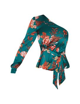 Emerald Green Floral One Shoulder Belted Blouse by Prettylittlething
