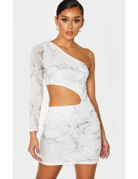 White Mesh Marble Print Cut Out One Shoulder Bodycon Dress by Prettylittlething