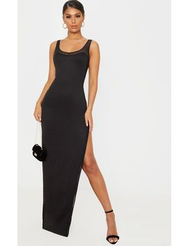 Black Sleeveless Mesh Insert Split Detail Maxi Dress by Prettylittlething