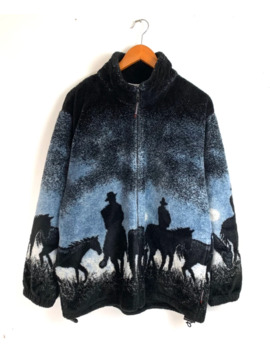 90s Horse And Cowboy Fleece Zip Up Jacket by Vintage  ×  Japanese Brand  ×