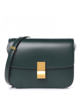 Celine Box Calfskin Medium Classic Box Flap Dark Green by Celine