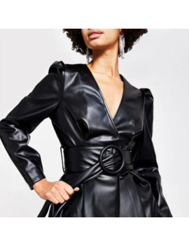 Black Faux Leather Long Sleeve Belted Top by River Island