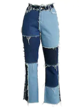 Patchwork    Straight Leg Jeans by Jaded London