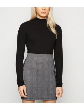 Petite Light Grey Check Tube Skirt by New Look