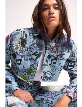 **Graffiti Print Denim Jeans By Jaded London by Topshop