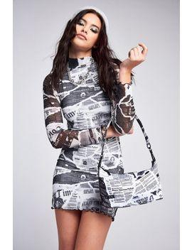 **Newspaper Print Mini Dress By Jaded London by Topshop