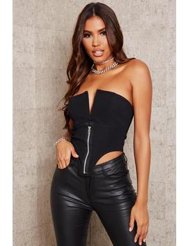 Black V Bar Zip Front Corset Bralet by I Saw It First