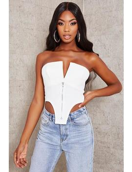 White V Bar Zip Front Corset Bralet by I Saw It First