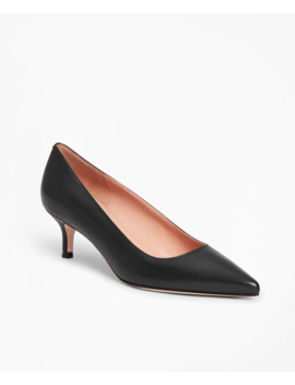 Leather Point Toe Kitten Heels by Brooks Brothers