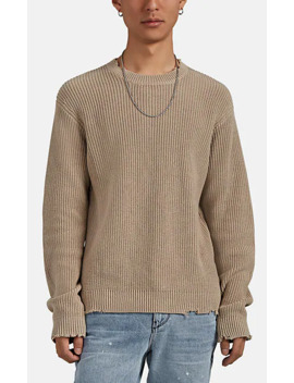 Distressed Rib Knit Cotton Sweater by Rt A
