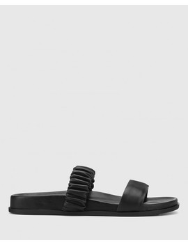 Burgess Black Nappa Leather Flat Sandal by Wittner