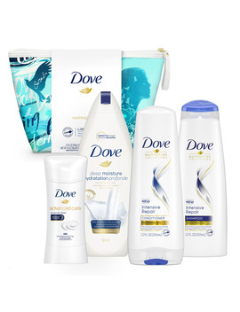 ($26 Value) Dove 5 Pc Self Esteem Project Sarah Holiday Gift Set (Shampoo, Conditioner, Deodorant, Bodywash With Bonus Pouf) by Dove